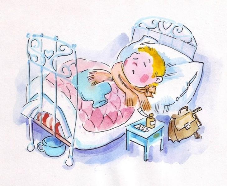 Простуженный малыш в постели с шарфом и лекарствами